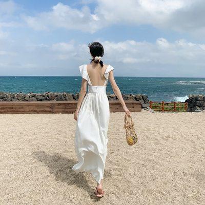 Đầm maxi đi biển cho người thấp
